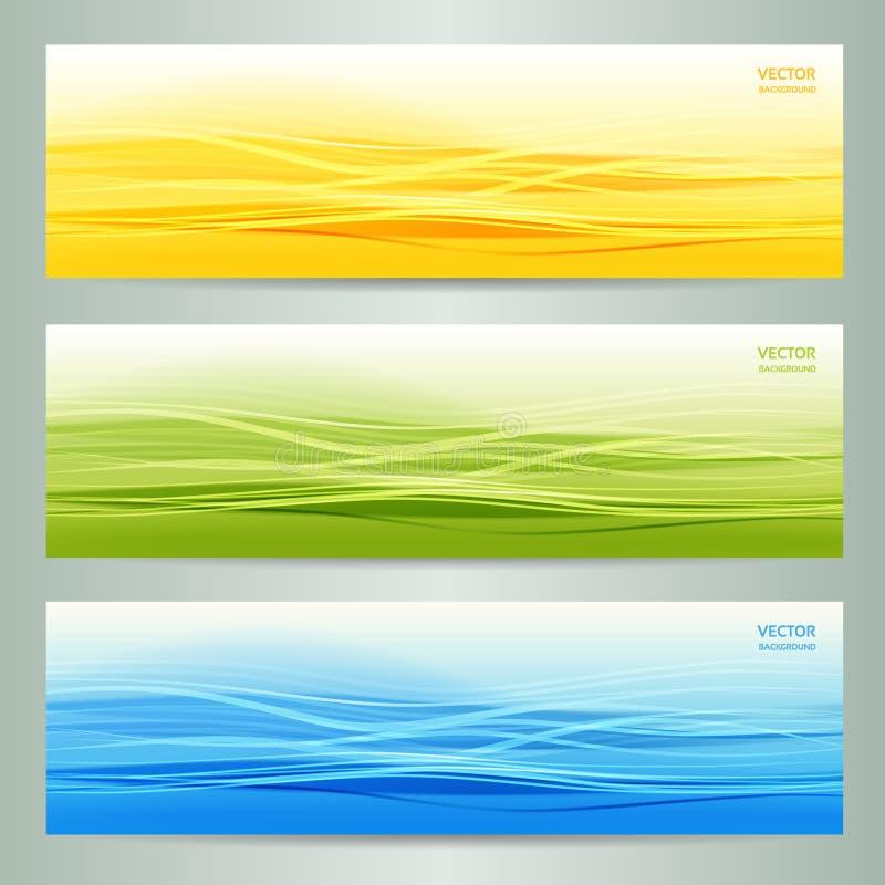 Комплект 3 абстрактных знамен иллюстрация штока