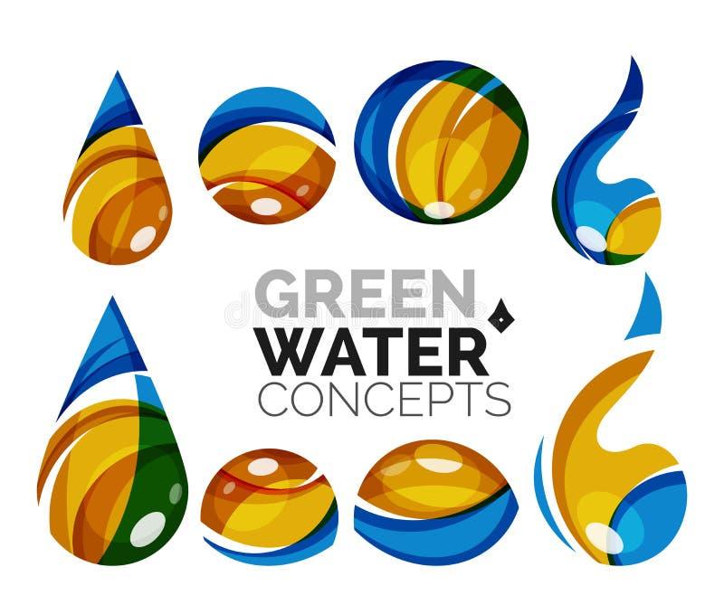 Комплект абстрактных значков воды eco, логотип дела иллюстрация вектора