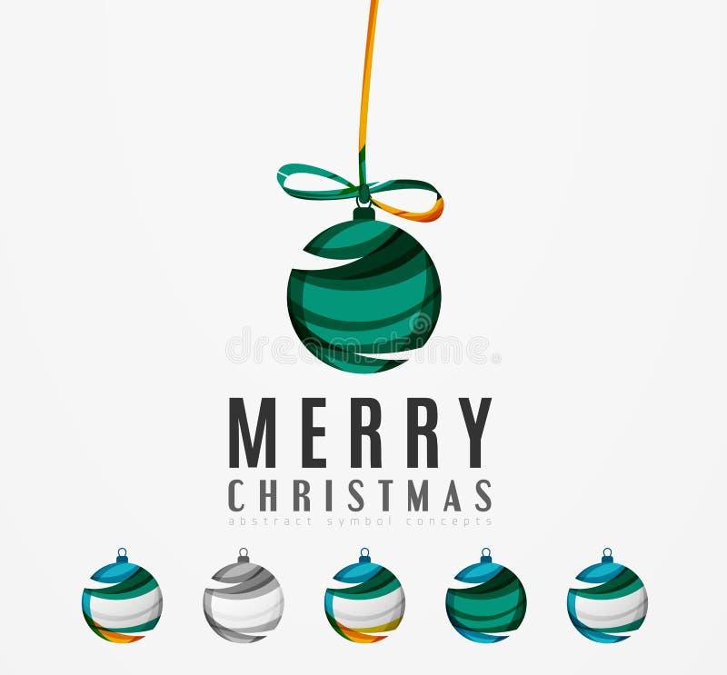 Комплект абстрактных значков шарика рождества, дело иллюстрация штока
