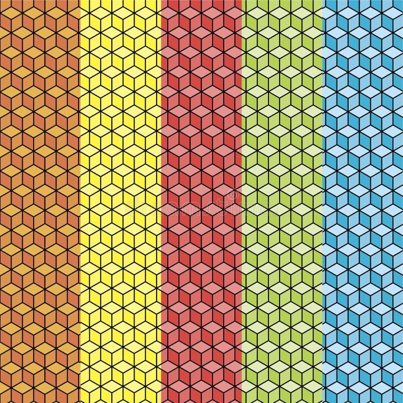 Комплект абстрактных кубических красочных картин стоковые фотографии rf