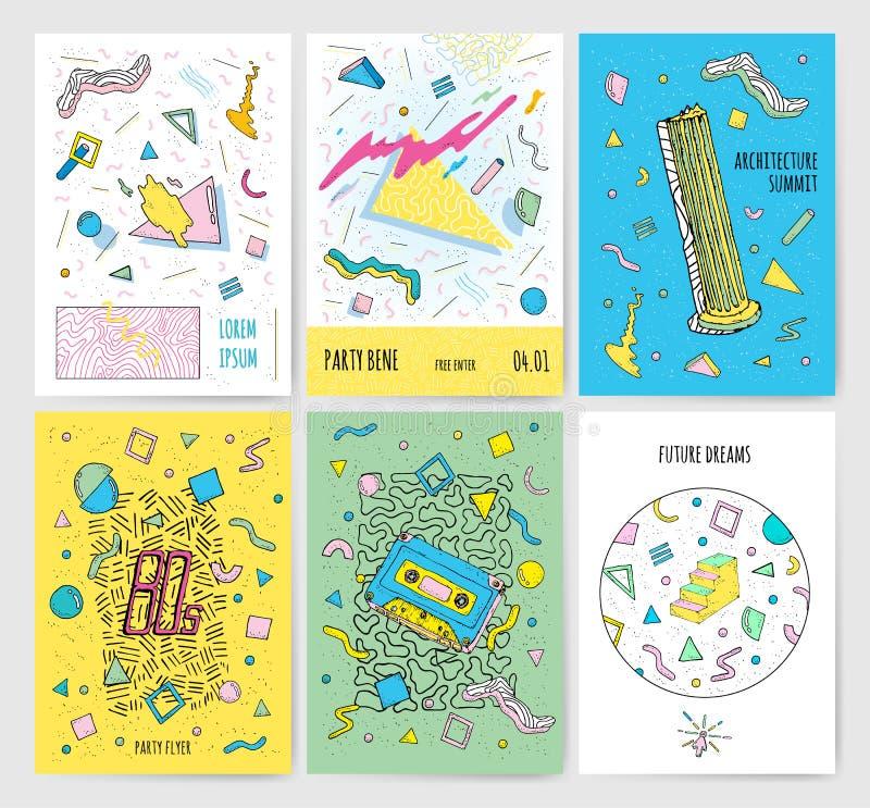 Комплект абстрактных современных шаблонов карточек с изолированными геометрическими элементами Плакат стиля Мемфиса собрания ульт иллюстрация вектора
