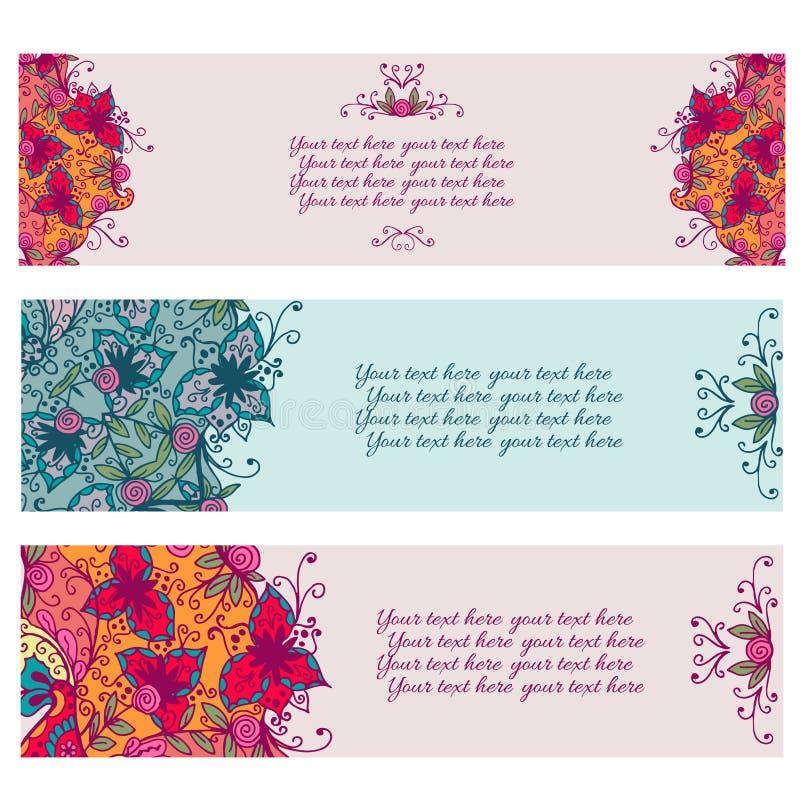 Комплект 3 абстрактных флористических знамен иллюстрация штока