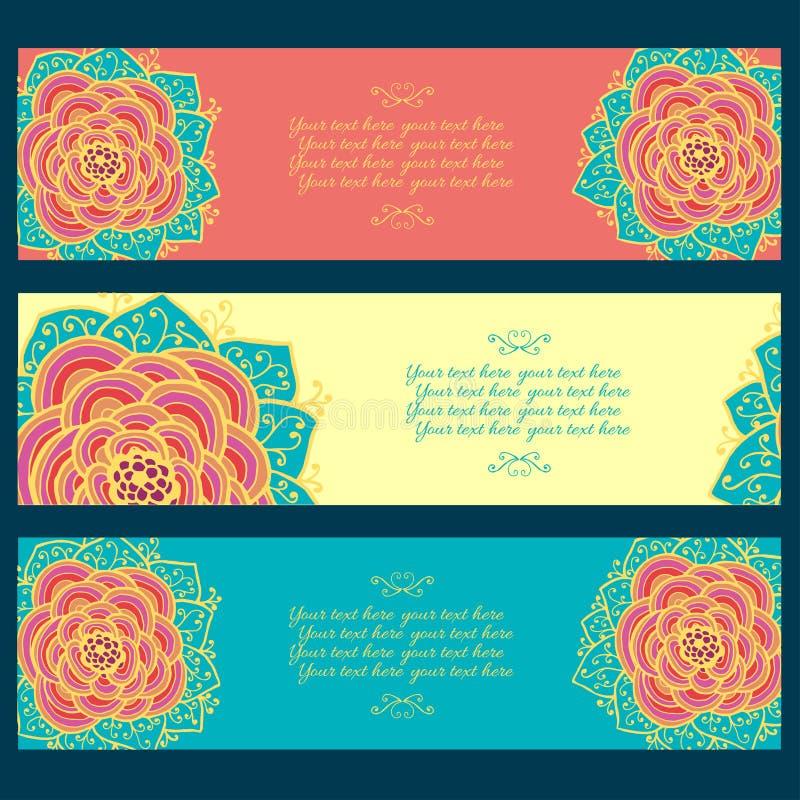 Комплект 3 абстрактных флористических знамен бесплатная иллюстрация