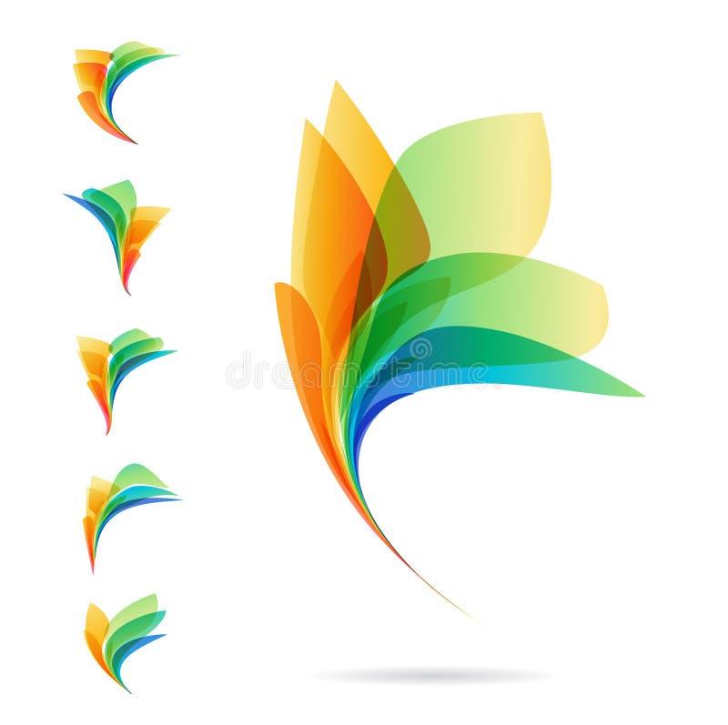Комплект абстрактных элементов, логотипов лепестков иллюстрация вектора