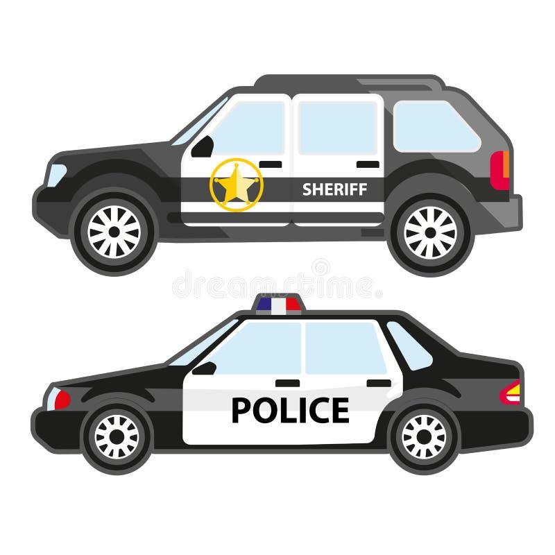 Комплект автомобилей полиции Городской корабль патруля и автомобиль шерифа Символ службы безопасности, 911 или полисмена иллюстрация вектора