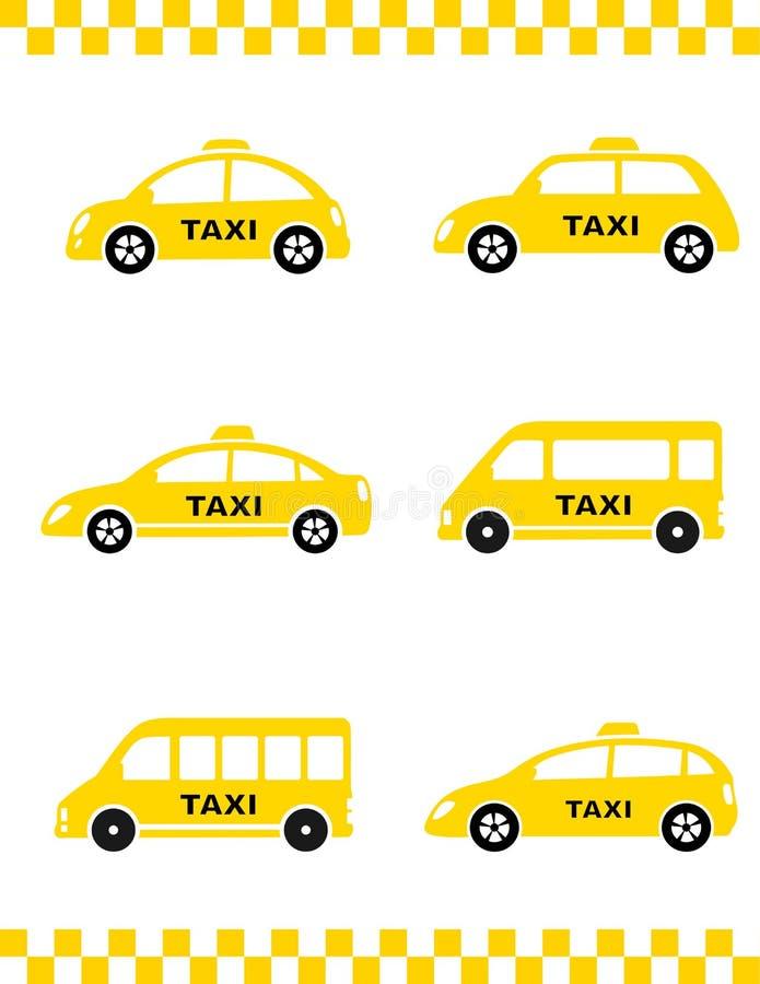 Комплект автомобиля такси иллюстрация вектора