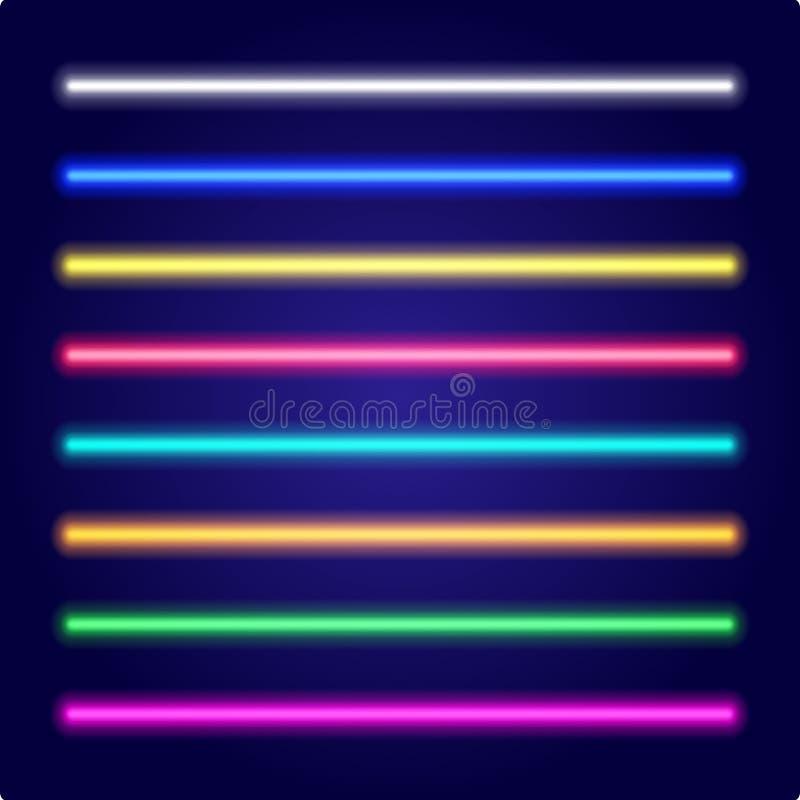 Комплект лазерных лучей цвета Свет неоновой трубки вектор иллюстрация штока