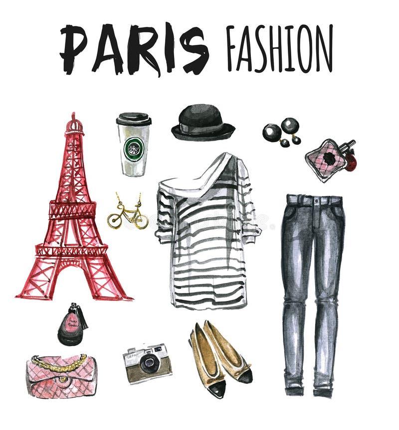 Комплект акварели значков Парижа моды бесплатная иллюстрация