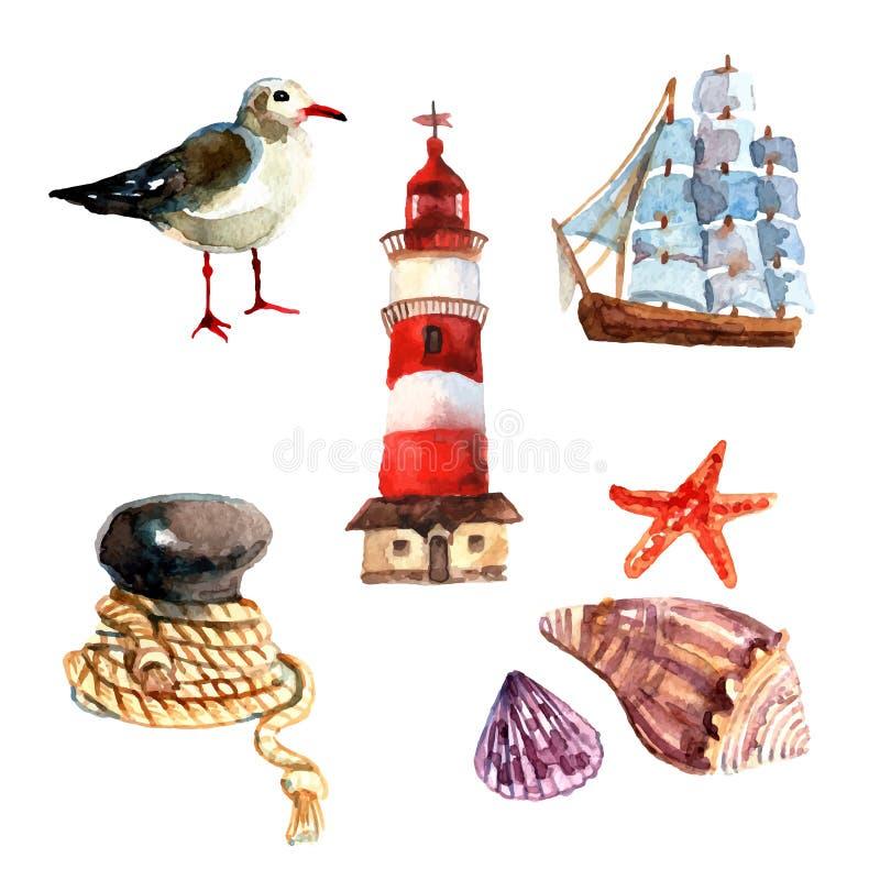 Комплект акварели морской иллюстрация штока