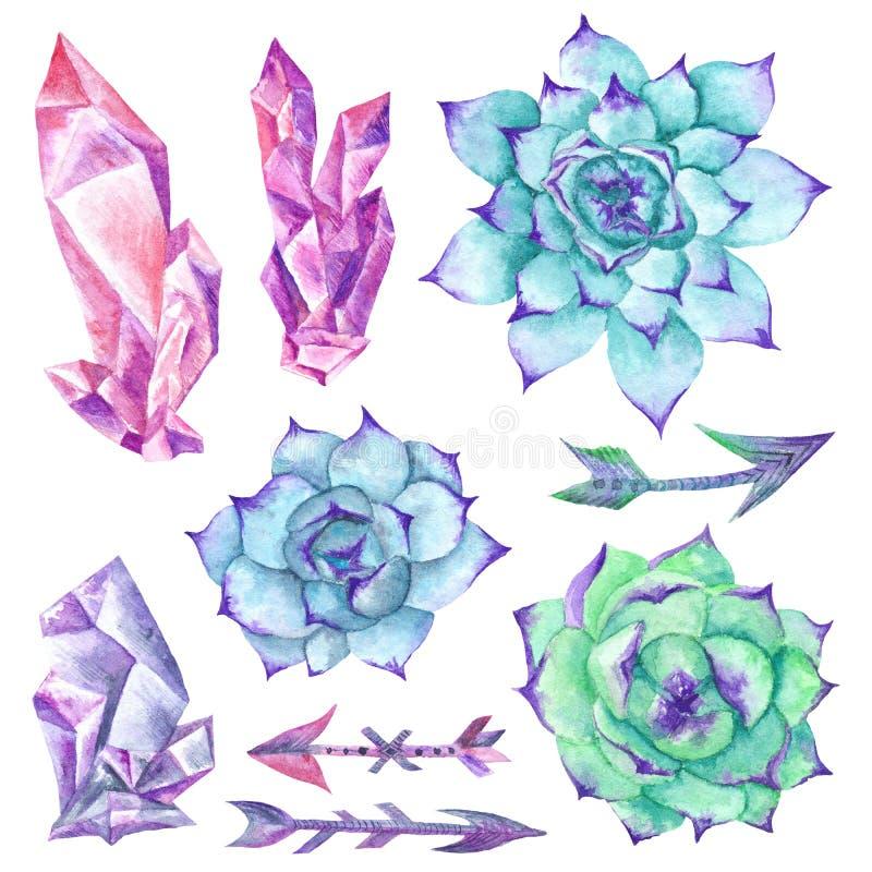 Комплект акварели Sukkulents стиля Boho, кристаллов и стрелок иллюстрация вектора