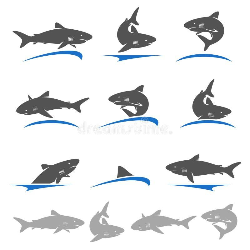 Комплект акулы вектор иллюстрация штока