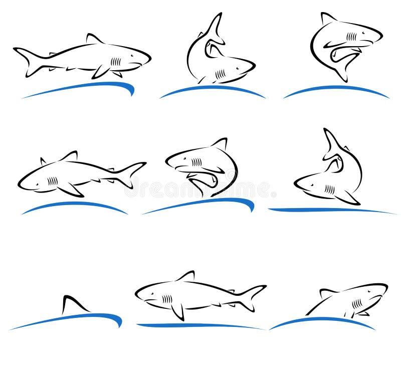 Комплект акулы вектор бесплатная иллюстрация