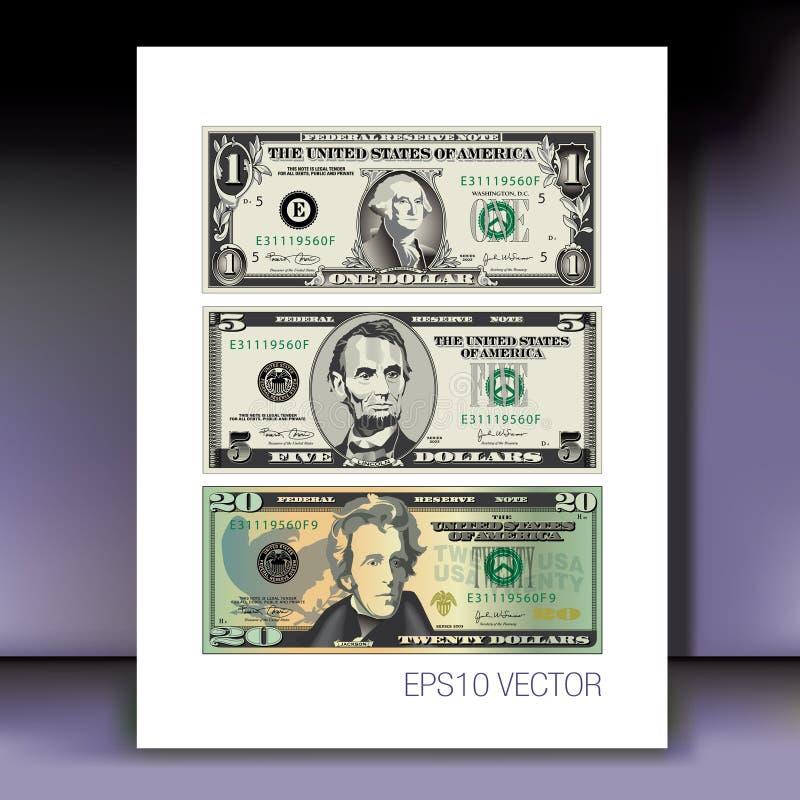Комплект американских долларов иллюстрация штока