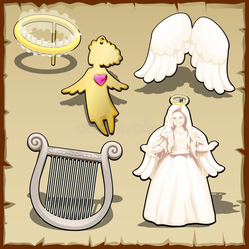 Комплект ангеликового, венчика, арфы, крылов и другого иллюстрация вектора