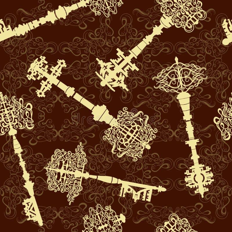Комплект антиквариата пользуется ключом безшовная картина Винтажное собрание иллюстрации вектора иллюстрация штока