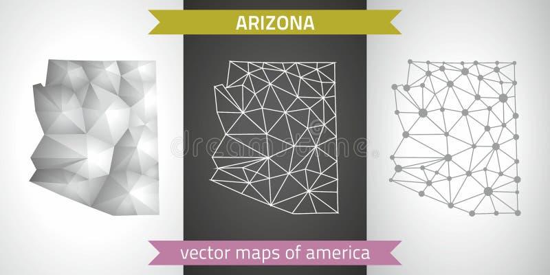 Комплект Аризоны серого цвета и карт мозаики 3d серебра полигональных иллюстрация вектора