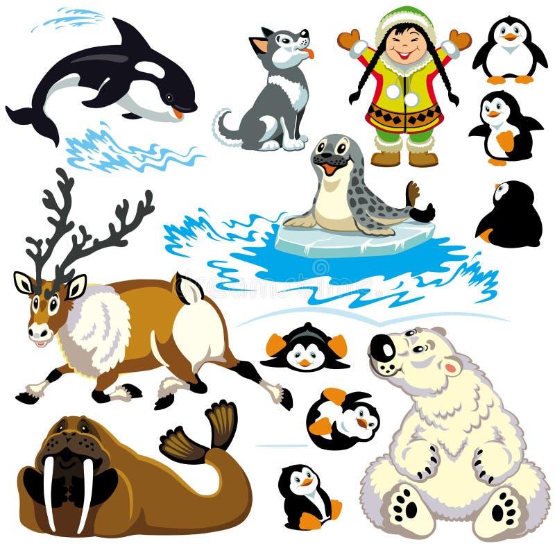 Комплект арктики шаржа иллюстрация штока