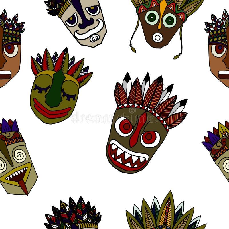 Комплект африканских этнических племенных маск на белой предпосылке бесплатная иллюстрация