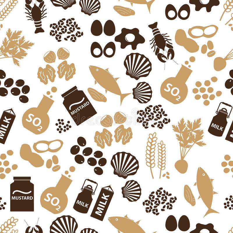Комплект аллергенов еды для картины ресторанов безшовной иллюстрация штока
