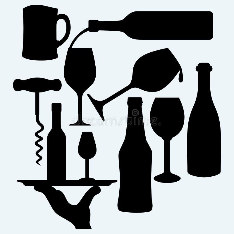 Комплект алкогольных напитков бесплатная иллюстрация