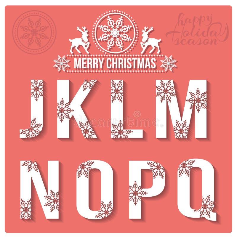 Комплект алфавита рождества стилизованного с снежинками иллюстрация вектора