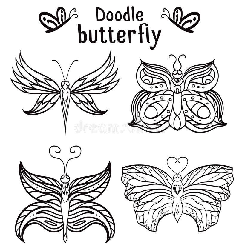 Комплект бабочки нарисованной рукой с картиной boho бесплатная иллюстрация