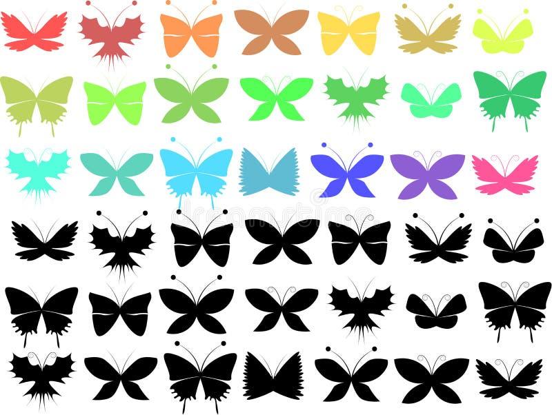 Download Комплект бабочки иллюстрация вектора. иллюстрации насчитывающей чертеж - 33731610