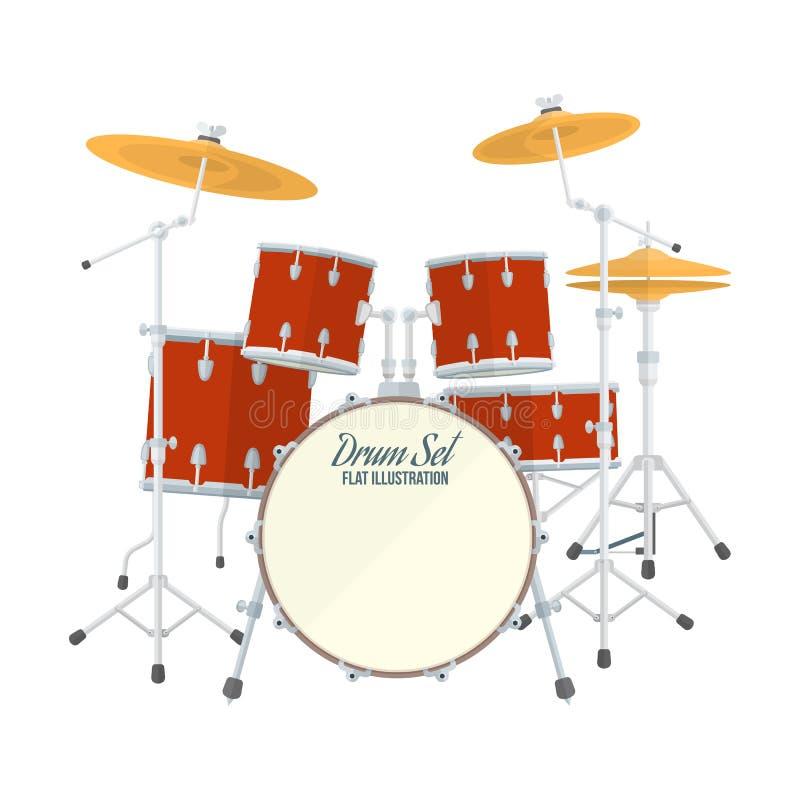 Комплект барабанчика вектора стиля цвета плоский иллюстрация штока