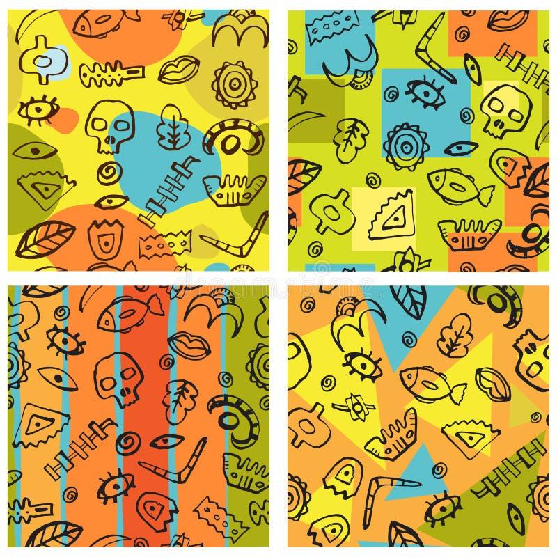 Комплект безшовной картины 4 нарисованной рукой племенной иллюстрация штока