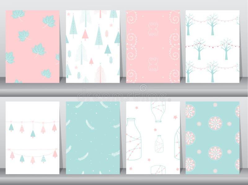 Комплект безшовной картины предпосылки зимы рождества, безшовной зимы, безшовных предпосылок, иллюстраций вектора иллюстрация штока