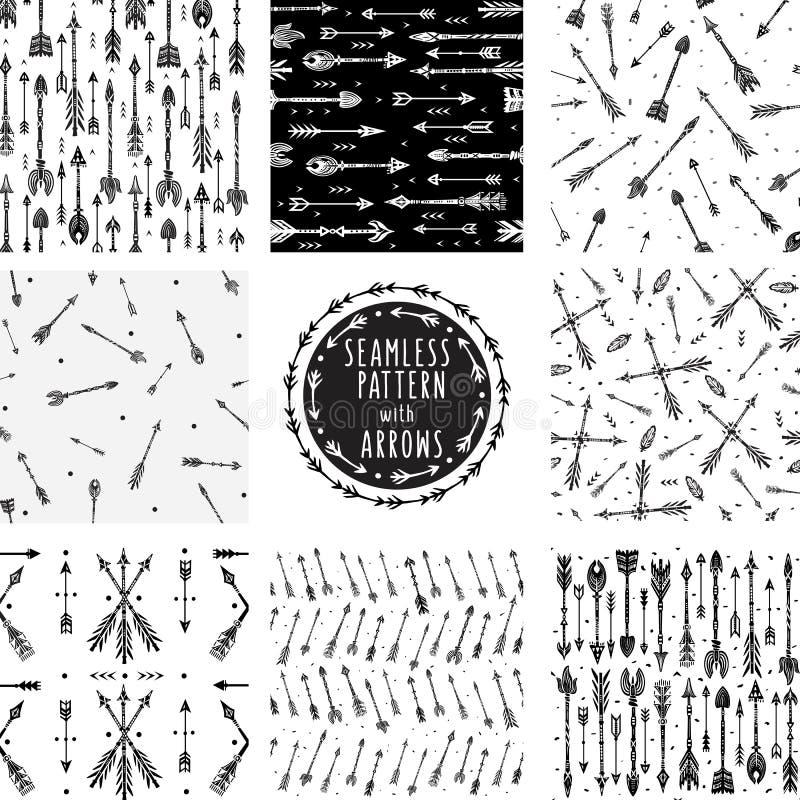 Комплект безшовной картины с племенными стрелками иллюстрация вектора