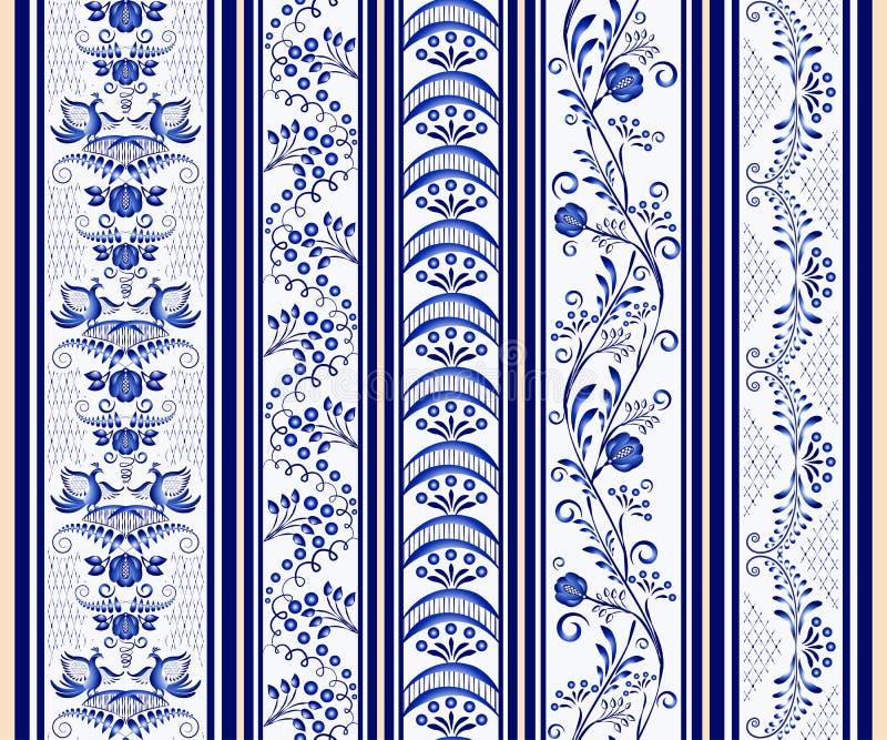 Комплект безшовных вертикальных границ в этническом стиле картины на фарфоре иллюстрация штока
