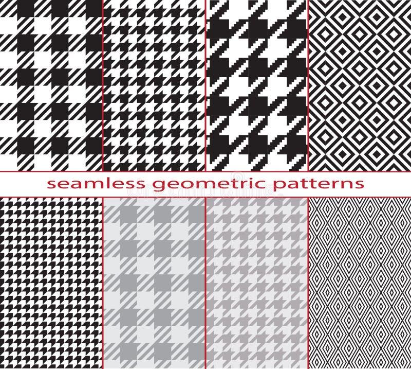 Комплект безшовных геометрических черно-белых картин, houndstooth, диамант, шахматная доска бесплатная иллюстрация