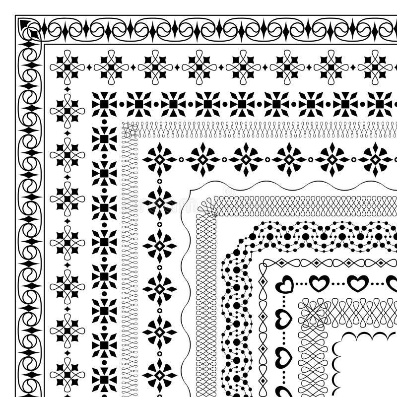 Комплект безшовных геометрических щеток с угловыми элементами бесплатная иллюстрация