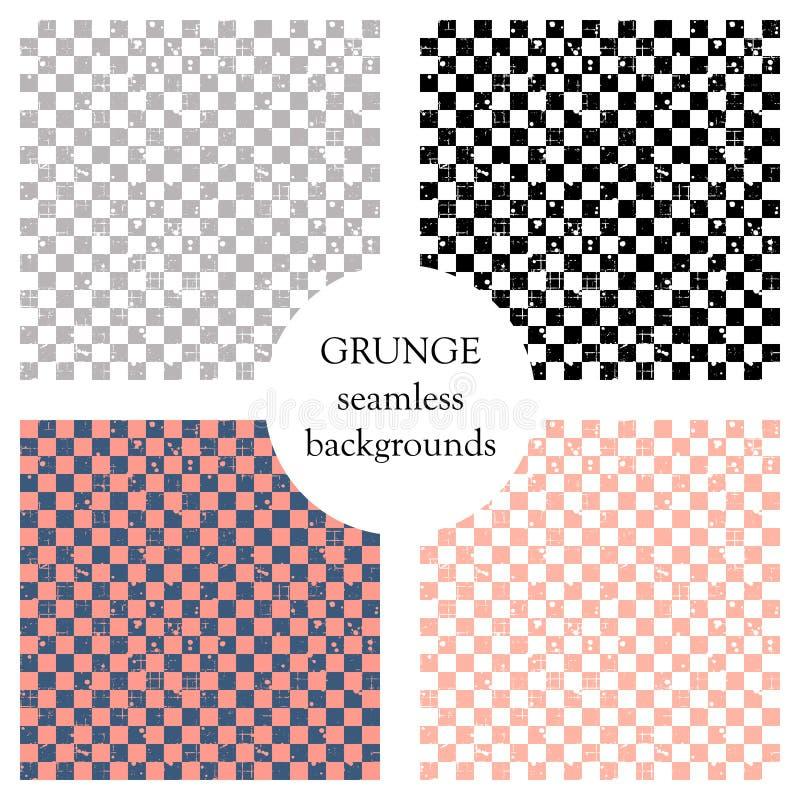 Комплект безшовных картин вектора Геометрические checkered предпосылки с квадратами Текстура Grunge с истертостью, отказами и амб иллюстрация штока