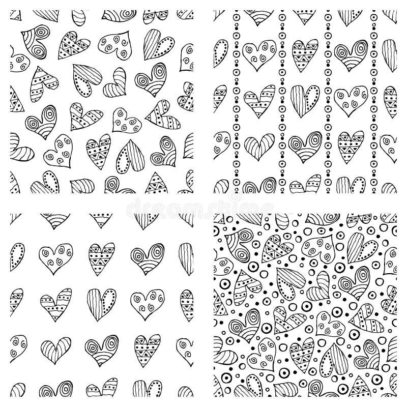 Комплект безшовных картин вектора с сердцами Предпосылка с символами нарисованными рукой орнаментальными и декоративными элемента иллюстрация вектора