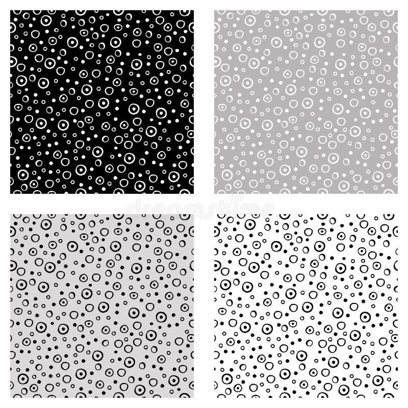 Комплект безшовных картин вектора с точками Черные, белые, серые предпосылки с элементами нарисованными рукой декоративными Декор иллюстрация вектора