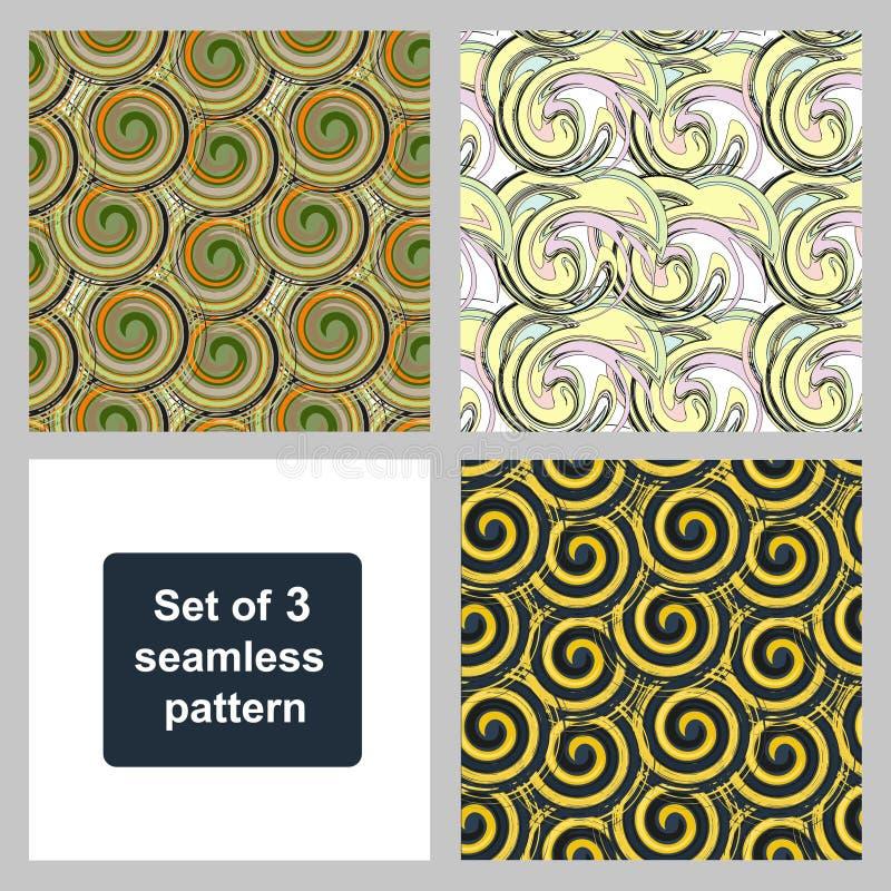Комплект 3 безшовных картин вектор техника eps конструкции 10 предпосылок Пестротканые картины спиральных элементов бесплатная иллюстрация