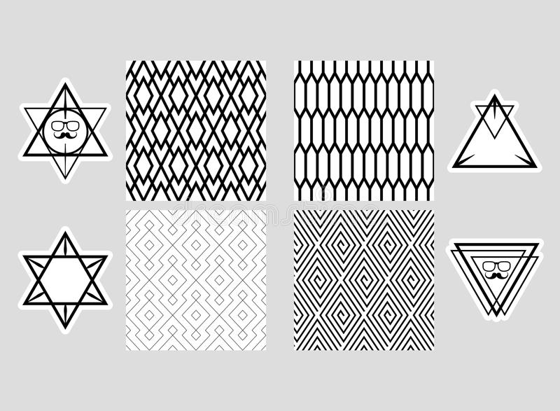 Комплект безшовных картин и собрания элементов дизайна, ярлыков, значка, для упаковки, дизайн продуктов элиты Monochrome и иллюстрация вектора