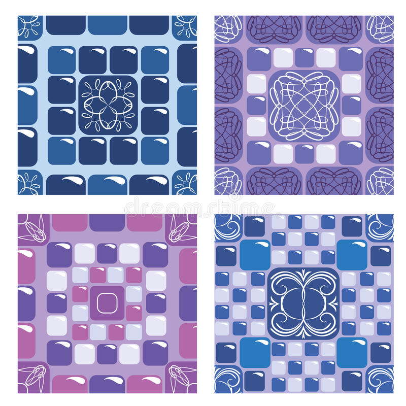 Комплект безшовных картин мозаики иллюстрация вектора