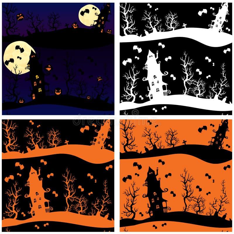 Комплект безшовных картин - ноча хеллоуина: myster иллюстрация штока