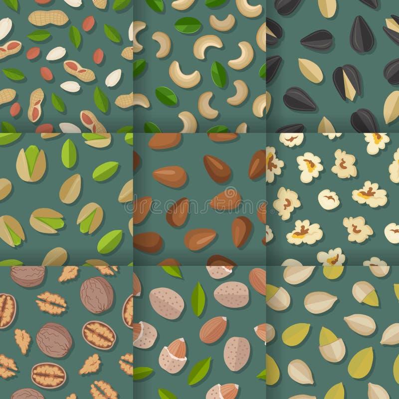 Комплект безшовных картин с гайками и семенами иллюстрация штока