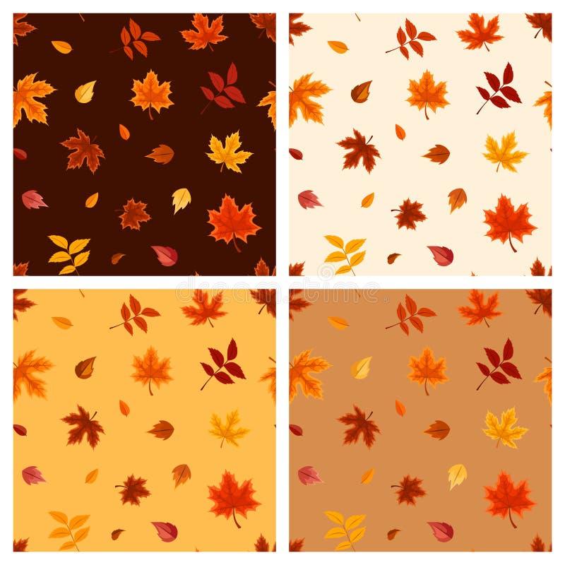 Комплект 4 безшовных картин с листьями осени также вектор иллюстрации притяжки corel бесплатная иллюстрация