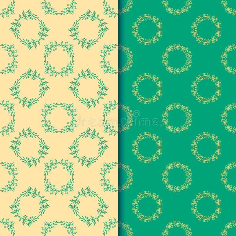 Комплект безшовных картин с круговой флористической печатью 2 иллюстрация штока