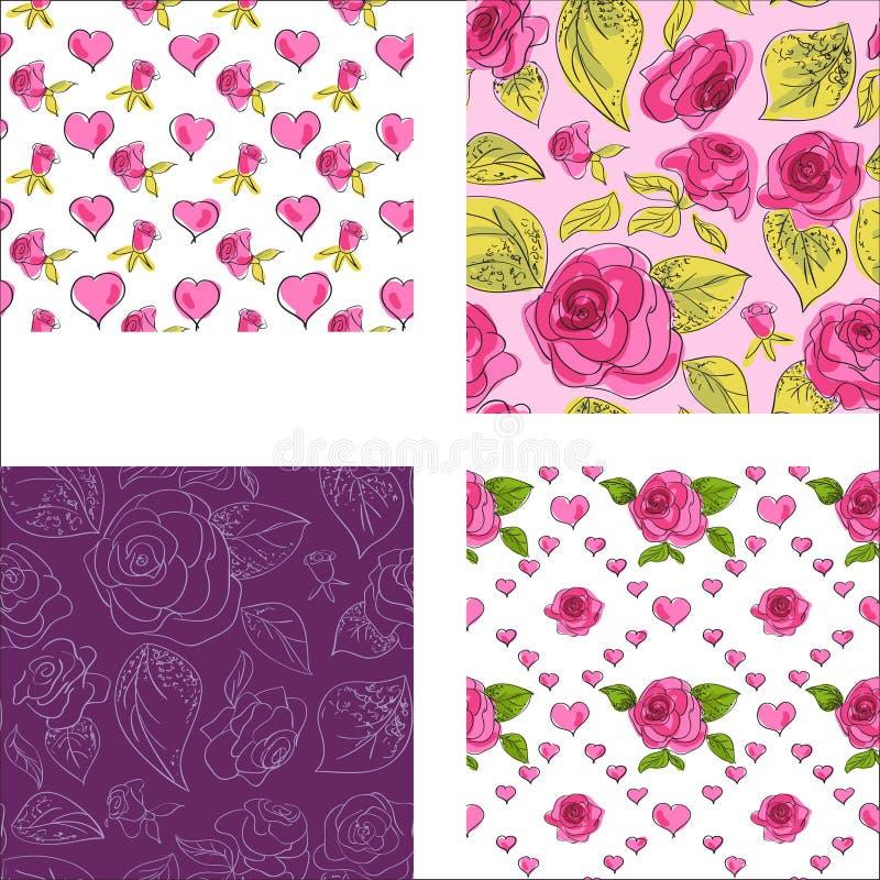 Комплект безшовных картин с розовыми розами иллюстрация вектора