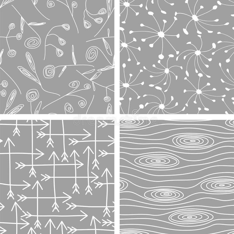 Комплект безшовных предпосылок картин вектор бесплатная иллюстрация