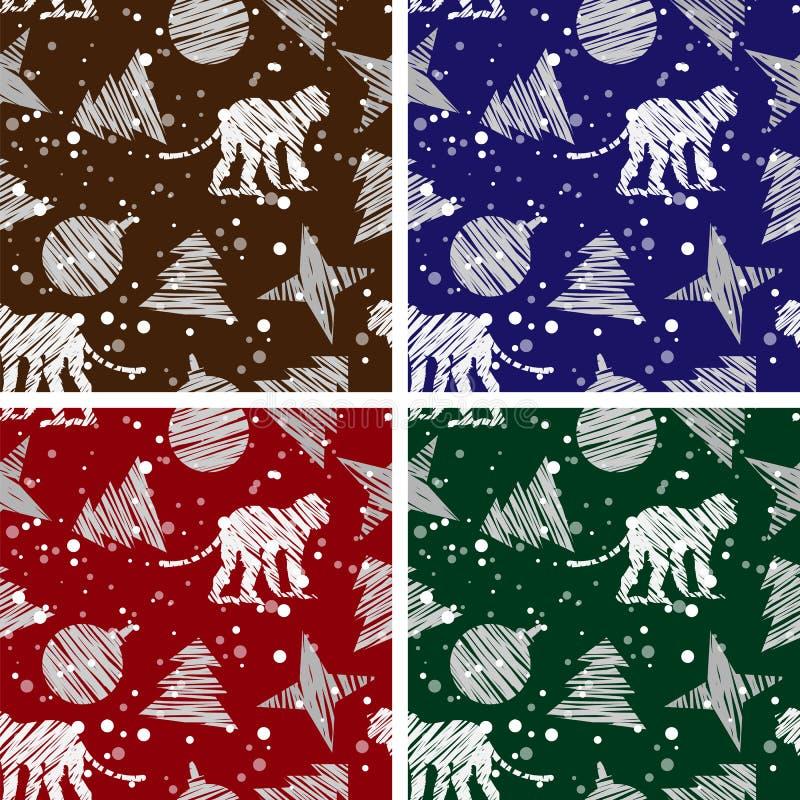 Комплект 4 безшовных предпосылок рождества на 2016 год обезьяны бесплатная иллюстрация