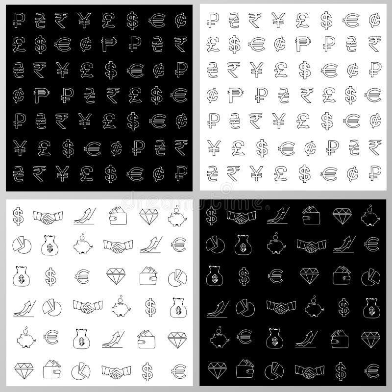 Комплект безшовных текстур для дизайна дела/финансов иллюстрация штока