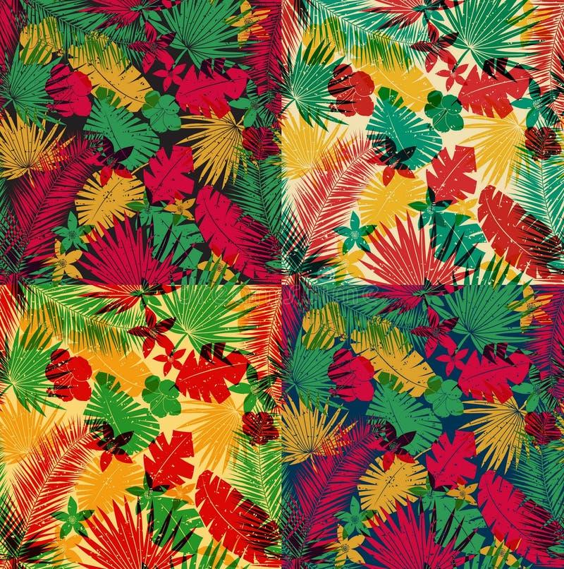 Комплект безшовных тропических картин джунглей иллюстрация штока