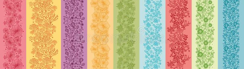 Комплект 9 безшовных цветастых цветков вертикальных иллюстрация вектора